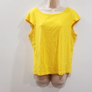 Newport News easy style 100% cotton yellow blouse